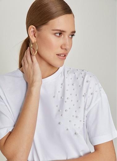 NGSTYLE Boncuk İşlemeli Tshirt Beyaz